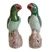 Pair Of Chinese Export Famille Verte Pottery Parrots C1910