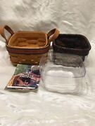 Longaberger 1999 Fathers Day Tee Basket Combo Leather Handles Liner Protector