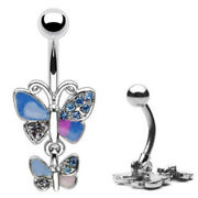 Double Butterfly Wing Paved Cz Gem Belly Ring Pierced Navel Hinged W174