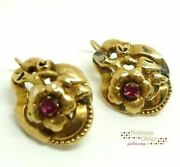 Earrings Antique Italy '800 Bourbon Kings Original Rubies Gold Solid 18 Carats