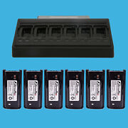 Two Way Radio Six Multi Unit Charger With 6 Battery Combo For Kenwood Tk-2200