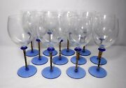 Unknown Mfg Set Of 12 Blue And Gold Stem Blue Foot Wine Water Goblets 8-5/8