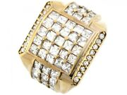 10k Or 14k Yellow Gold Cluster White Cz Square Wrap Design Mens Ring