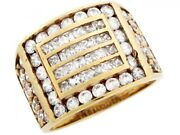 10k Or 14k Yellow Gold Cluster White Cz Rectangle Grill Design Mens Ring