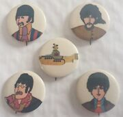 The Beatles Yellow Submarine 5 Pc. Pin Back Button Vintage