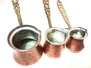 Turkish Coffee Pot Handmade Copper Coffee Makers Cezve 3 Sizes Hand Hammered