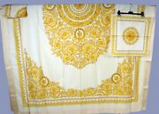 90-s Vintage Rare Gianni Versace Gold Barocco Tablecloth With 12 Napkins