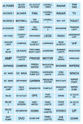 96 Baby Blue Boat Marine Electric Panel Switch Label Sticker Sea Decal Pack Kit