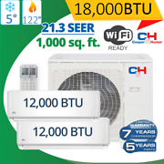 Dual Zone 12+12k Candh Muli Ductless Mini Split Air Conditioner 21.3 Seer 1000 Sf