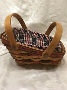 New Longaberger 1996 Small Sleigh Yuletide Basket Combo Protector Americana Line
