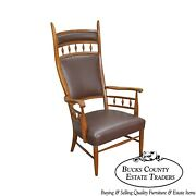 Mid Century Unusual High Back Sculpted Maple And Leather Arm Chair