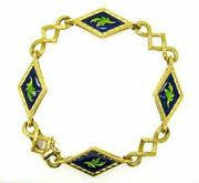 Vintage Bracelet Yearsand039 60 Italian Yellow Gold Solid 18 Carats With Enamels