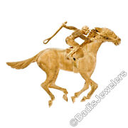 Vintage 18k Yellow Gold Highly Detailed Textured 3d Horse And Jockey Brooch Pin