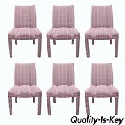 Upholstered Parsons Style Dining Chairs Hollywood Regency Pink And Silver Set Of 6
