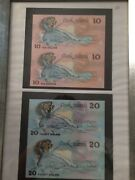 Uncut Pair Of 1987 Cook Islands 10 20 Pair Unc Banknotes ,with Frame,rare