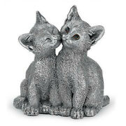 Comyns Sterling Silver Filled Figurine - Kittens Kissing 8 Cm
