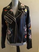 Bagatelle Heritage Floral Print Studded Black Motorcycle Jacket Size Small