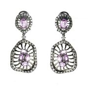 18k White Gold Diamond And Pink Sapphire Drop Earrings