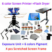 6 Color 6 Station Full Set Material Kit Screen Printing Press And Flash Dryer Kit