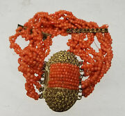 Antique Vintage Chinese Gilt Brass And Coral Bead Bracelet Tibetan Jewelry