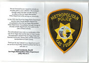 Las Vegas Police Nevada Shoulder Patch On A Department History Card