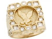 10k Or 14k Yellow Gold Cluster White Cz American Eagle Freedom Mens Ring