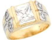 10k Or 14k Yellow Gold White Cz Simulated April Birthstone Band Childrens Ring