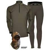 Hecs Suit Base Layer Hunting Suit - 3 Piece Shirt Pants Headcover | Sm-3x