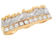 10k Or 14k Two-tone Gold White Cz Accented Mens Last Supper Three Finger Ring