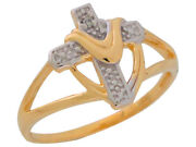 10k Or 14k Two-tone Gold Diamond Accented Cross With Shroud Split Shank Ring