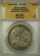 1842 Germany-bavaria 2 Thalers Silver Coin Anacs Au-50 Details Damaged Whizzed