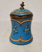 Antique Vintage German French Enameled Copper Inkwell Damaged As Is Limoges