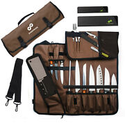 Chef Knife Roll Bag 15 Slots Holds Knives Up To 19 - Includes 2 Knife Guards