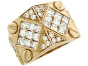 10k Or 14k Real Solid Yellow Gold White Cz Cluster Bolt Thick Mens Ring