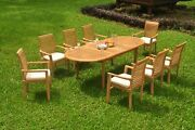A-grade Teak 9pc Dining 94 Oval Table 8 Mas Stacking Arm Chair Set Outdoor