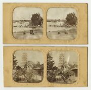 Canton China, 2 Tissue Stereoview Cards By Pierre Rossier, Hand Coloured Photo