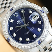 Rolex Mens Datejust 18k White Gold Diamond Sapphire And Steel Blue Dial Watch