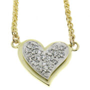 14k Yellow And White Gold 0.40ctw Pave Round Diamond Tiered Heart Pendant Necklace