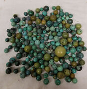 Antique Vintage Chinese Turquoise Bead Group 517 Grams Varying Size Color