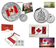 2015 Silver 25 Canada Flag Coin, Coin Roll, Uncirculated Coin Set And Flag Stamp