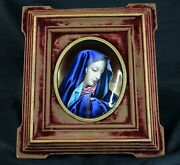 French Limoges Enamel On Copper Mary Madonna Portrait Plaque By Theophile Soyer