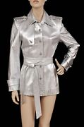 Zang Toi Silver Leather Jacket Trench Coat With Crystal Buttons