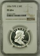 1956 Type 2 Us Franklin Silver Half Dollar 50c Coin Ngc Pf-69 Star Cameo