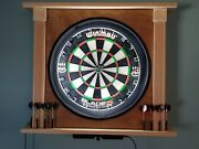 Lighted, Hand Made Wooden Dart Board Cabinet