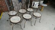 6 Antique Iron Metal Ice Cream Parlor Salon Game Table Side Chairs - So Nice