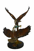 Two Eagles Fighting On Fish Bronze Statue - Size 33l X 28w X 42h.