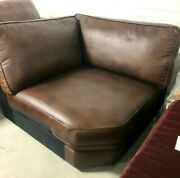 Pottery Barn Pearce Couch Sofa Sectional Cognac Leather Wedge Corner Piece