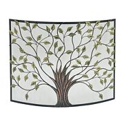 Metal Spark Protection Guard Fire Place Screen Hearth Tree Home Decor Iron Frame