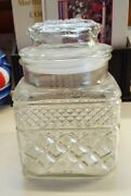 New Apothecary Canister W/lidheavyornateglass4 3/4 Sq.rnd X 9hcollectible