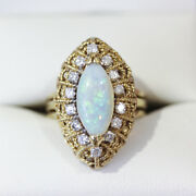 Stunning Vintage Marquise Shape Opal And Diamond Cocktail Ring Cluster Ring.